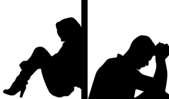 silhouette of couple seperated