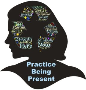silhouette of a woman with mindfulness terms