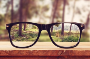 altered view through glasses