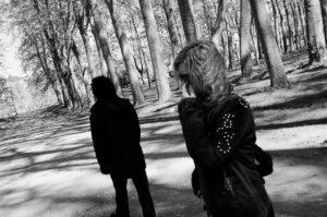 angry couple walking away